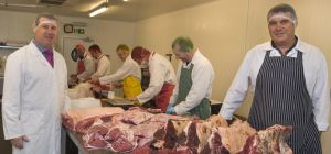 Ian Woodcock, purchasing director for Harlech Foodservice, with Bwydlyn butchery manager Emlyn Rober