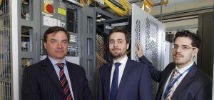 Paul Gower of Finance Yorkshire and Oliver Bryssau and Henri Wust of Origin Broadband.