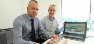 Adrian Williams (left) with Odyssey Systems' Andrew Middlemiss (right) in the new Apto Design office