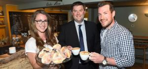 LR Cafe owners Jane Legge and Richard Metcalfe with Moore and Smalley's Colin Johnson