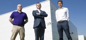 (l-r) Paddy Doyle, LDex Group with Ashley Griffiths from The Loop and Rob Garbutts from LDeX Group