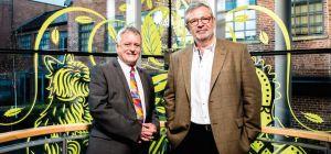 Jonathan Sands OBE, with Elmwood's new group chairman, Steve Gatfield.