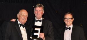 Sir John Hall receives his Lifetime Achievement award at the North East Entrepreneurial Awards 2014.