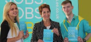 Norma Redfearn, North Tyneside Mayor with EE recruiting staff at a recruitment event last October.