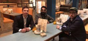 Martyn Sales of NatWest with Bundobust fouders Mayur Patel and Mark Husak.