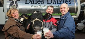 Heather Parry, MD of Fodder, David Oversby, MD of Dales Dairies and farmer Mark Smith
