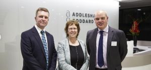 David Brown, Judith Blake and Paul Hirst at the launch event in Addleshaw Goddard's offices.