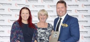 L-R: Sam Lee, Head of Recruitment at Bond Dickinson; Elaine McCully at the National Apprenticeship S