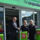 Tim Aisbitt of Bradley Hall with Co-op staff at new Bedlington store