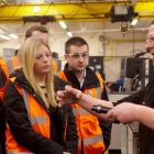 Maersk Graduates Ayman Saleh, Laura Fraser and Martin McIver on a tour of BEL Valves led by BEL's Wi