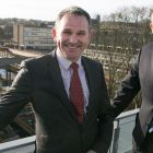 Allan Cook (left) and Neil McMillan (right), overlooking Milburngate from Freeman's Reach on Durham'